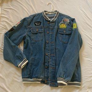 Denim jean varsity jacket